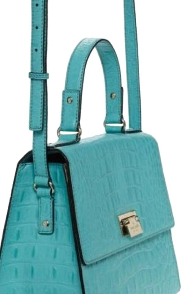Kate Spade Croc Embossed Satchel In Turquoise