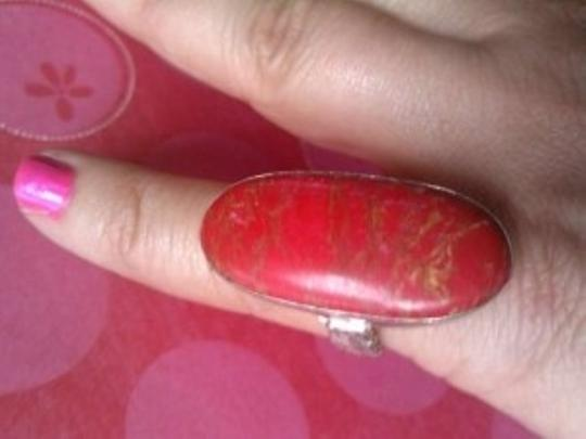 Anthropologie *final Markdown* Red Jasper BIG Silver Cocktail Ring