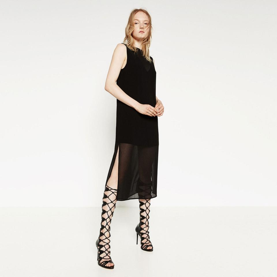 fake replica shoes - Zara New!!! Tags Tall Leather Strappy Gladiator Roman Heels! Black ...