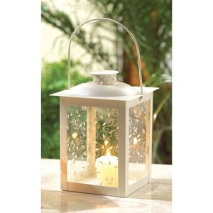 6- Large Ivory Color Glass Lantern