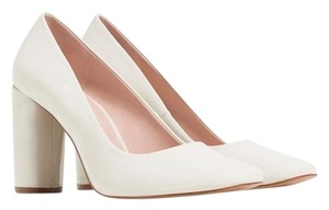 Zara Block Work Patent Leather White Ecru Pumps