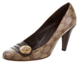 Gucci Gg Monogram Brown, Beige Pumps