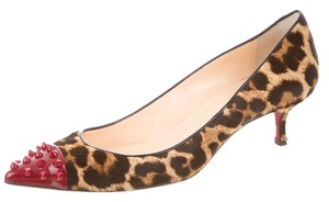 Christian Louboutin Ponyhair Geo Pointed Toe Brown, Black, Red Pumps