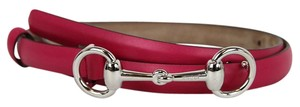 Gucci Leather Thin Skinny Belt w/Horsebit Buckle 282349 Fuchsia 5614 90/36