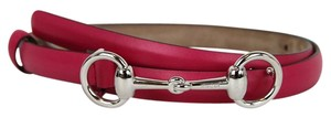 Gucci New Authentic Womens Leather Thin Skinny Belt w/Horsebit Buckle 282349 Fuchsia Leather/5614 95/38