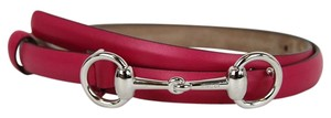 Gucci Leather Thin Skinny Belt w/Horsebit Buckle 282349 Fuchsia 5614 105/42