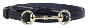 Gucci New Authentic Womens Leather Thin Skinny Belt w/Horsebit Buckle 282349 Navy Patent Leather/4233 95/38