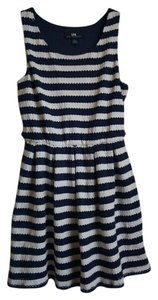 I.N. San Francisco short dress Navy Strip Sleeveless Lace on Tradesy