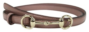 Gucci Womens Leather Thin Skinny Belt w/Horsebit Buckle