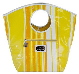 Trina Turk Yellow Orange White Striped Leather Tote