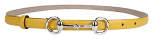 Gucci Leather Thin Skinny Belt w/Horsebit Buckle 282349 Yellow 7011 80/32