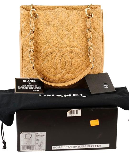 Chanel Tote Timeless Caviar Petite Shopper Ghw Beige Leather Shoulder Bag Chanel Tote Timeless Caviar Petite Shopper Ghw Beige Leather Shoulder Bag Image 1