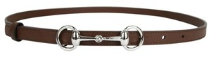 Gucci New Authentic Womens Leather Thin Skinny Belt w/Horsebit Buckle 282349 Brown Leather/2548 85/34