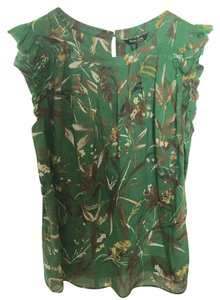 db64dccf188057 Massimo Dutti Printed Summer Wear To Work Pretty Top Green