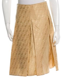 Fendi Gold Hardware Zucca Zucchino Skirt Gold, Beige