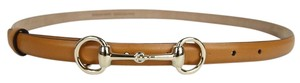 Gucci Leather Thin Skinny Belt w/Horsebit Buckle 282349 Brown2721 100/40
