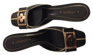Louis Vuitton Slingback Hardware black with gold buckle Mules