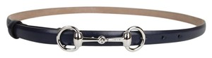 Gucci Leather Thin Skinny Belt w/Horsebit Buckle 282349 Navy 4116 95/38