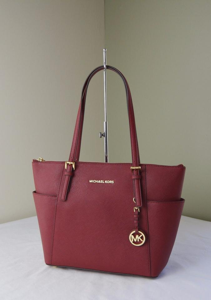 1820d5f7936e Michael Kors Jet Set Item East West Large Cherry Leather Tote - Tradesy