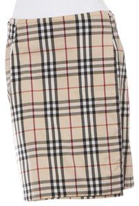 Burberry Plaid Nova Check Monogram Logo Wrap Skirt Beige, Brown, Black