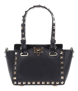 Valentino Rockstud Leather Tote in Black