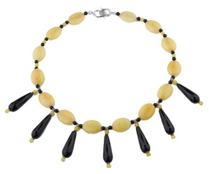 David's Bridal Yellow Jade and Black Onyx Sterling Silver Handmade Statement Necklace