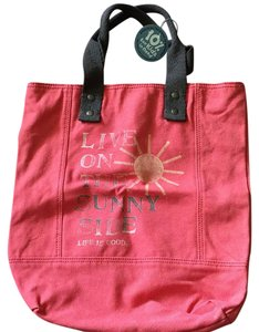 Life is Good Sunny Side Canvas Pet And Smoke Free Tote in Coral