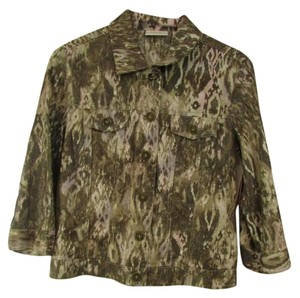 Chico's 3/4 Sleeves Button Down Animal Print Shimmer Collared Brown Jacket