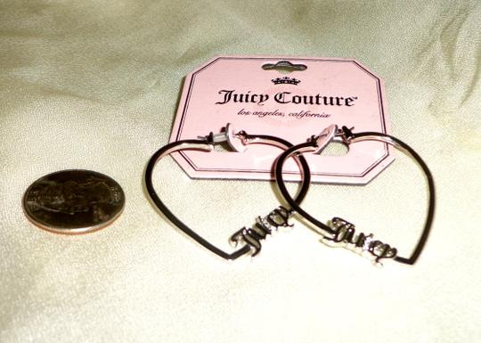 Juicy Couture JUICY COUTURE SILVER PLATED *JUICY* HEART SHAPED EARRINGS - NEW Image 2