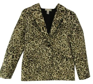 Chico's Leopard Print Long Sleeve Gold Blazer
