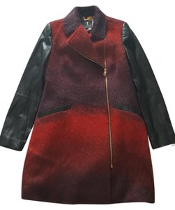 Ted Baker Leather Annamae Ombre Red and Black Leather Jacket