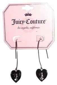 Juicy Couture JUICY COUTURE SILVER PLATED CUBIC HEART SHAPED DANGLE EARRINGS - NEW
