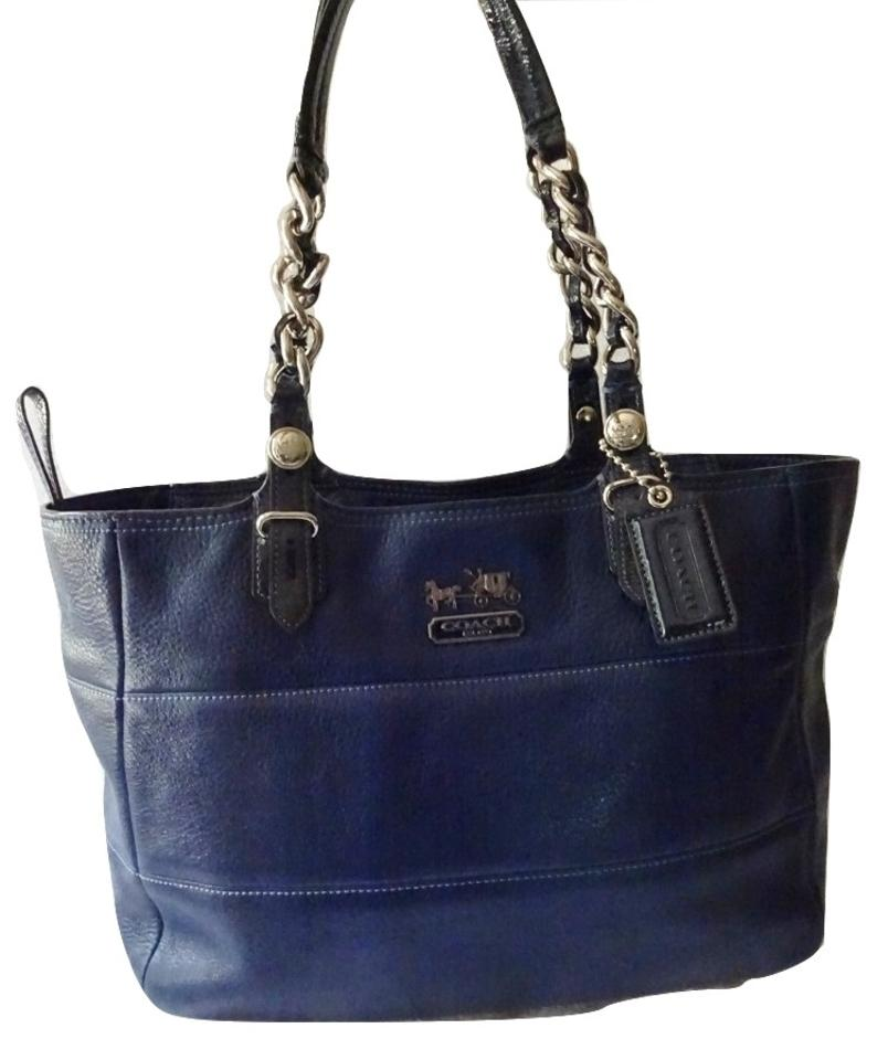 61f8530b8260 Coach Madison Tribeca Supple Pebbled Chain Link  14111 Blue Leather Tote
