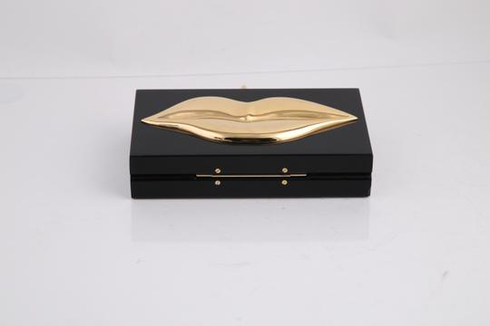 Charlotte Olympia Lips Black/Gold Clutch Image 6