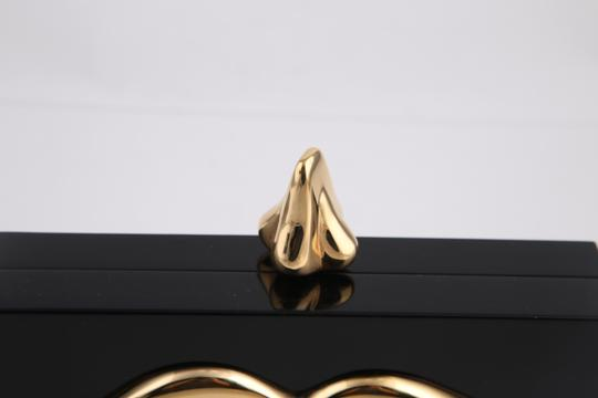 Charlotte Olympia Lips Black/Gold Clutch Image 8