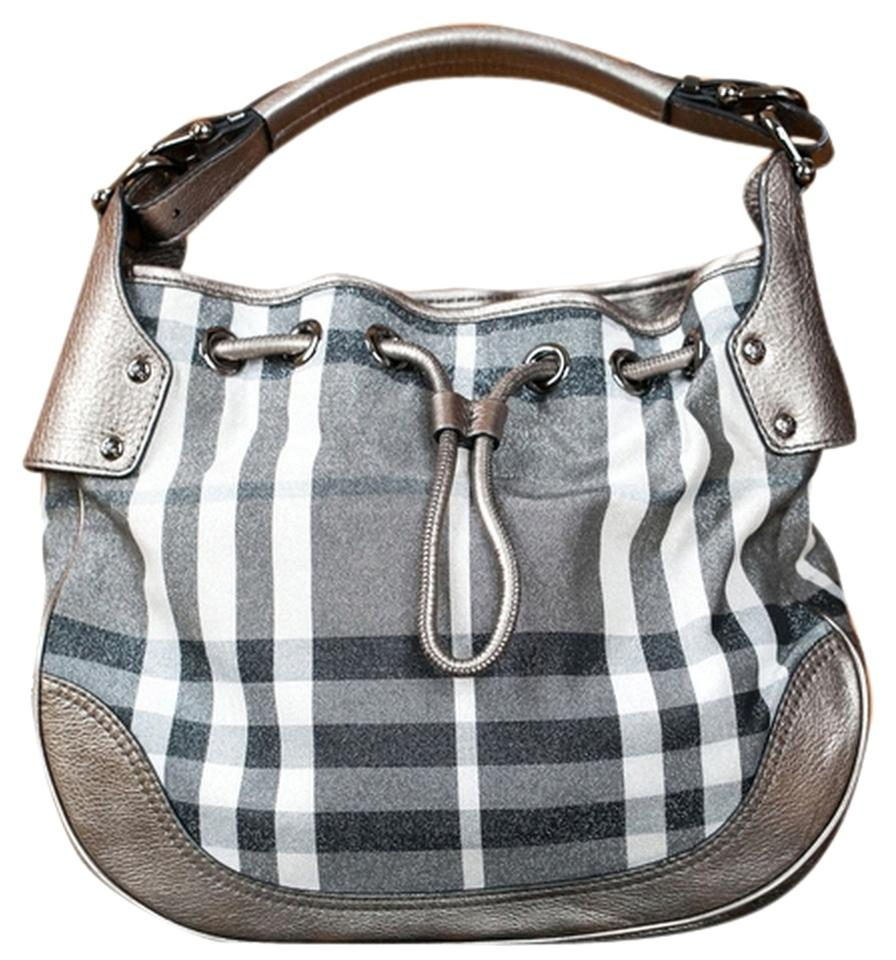 9f13993400d7 Burberry Gray Check Leather and Canvas Hobo Bag - Tradesy