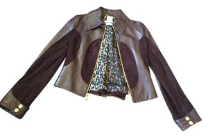 Dolce&Gabbana Dolce & Gabanna Leather Suede Motorcycle Leather Brown Leather Jacket