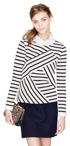 J.Crew Nautical Diagonal Stripe Sailor Summer Top Ivory & Navy