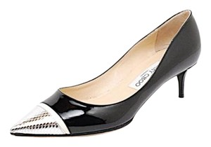Jimmy Choo Patent Black and Silver Pumps