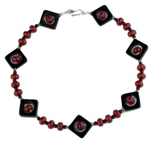 David's Bridal Faceted Red Ruby And Black Omyx Sterling Silver Handmade Statement Necklace