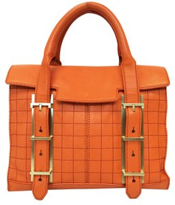 Botkier Leather Small Eden Quilted Satchel in Orange