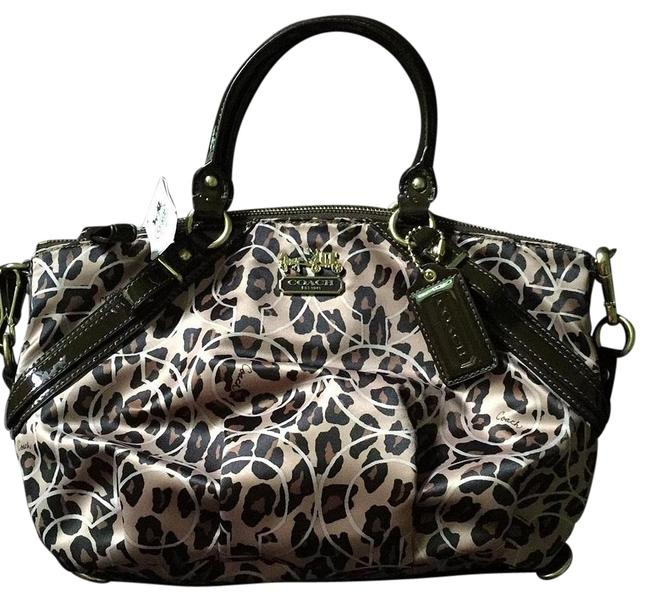 Coach Sophia Madison Op Art Rare Leopard/Ocelot Sateen and Patent Leather Satchel Coach Sophia Madison Op Art Rare Leopard/Ocelot Sateen and Patent Leather Satchel Image 1