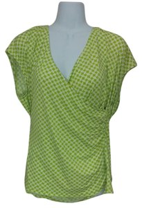 Liz Claiborne Wrap Style Ruching V-neck Top Green & white