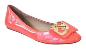 Tory Burch Patent Leather Logo Square Toe Poppy Coral Flats