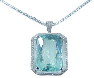 ENTICING CUSHION SHAPE AQUAMARINE PENDANT 22 CT. 0.85 (TOTAL) DIAMOND IN HALO SETTING 14KT WHITE GOLD