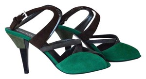 Prada Colorblock Suede Size 37.5 Green Sandals