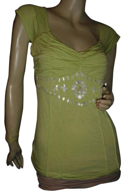 Item - Pistachio Green To The Max Mother-of-pearl Unique Nacre Sexy Back Blouse Size 6 (S)