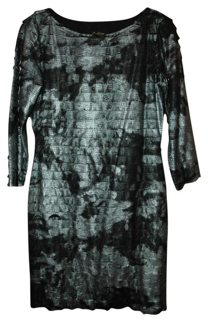 Preload https://item4.tradesy.com/images/cartise-animal-print-stretchy-dress-black-and-silver-1719758-0-1.jpg?width=400&height=650