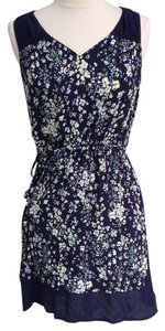 Ann Taylor LOFT short dress dark blue and floral on Tradesy