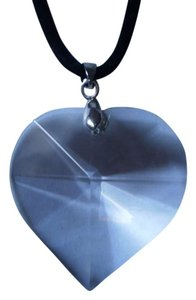 New Clear glass faceted heart necklace